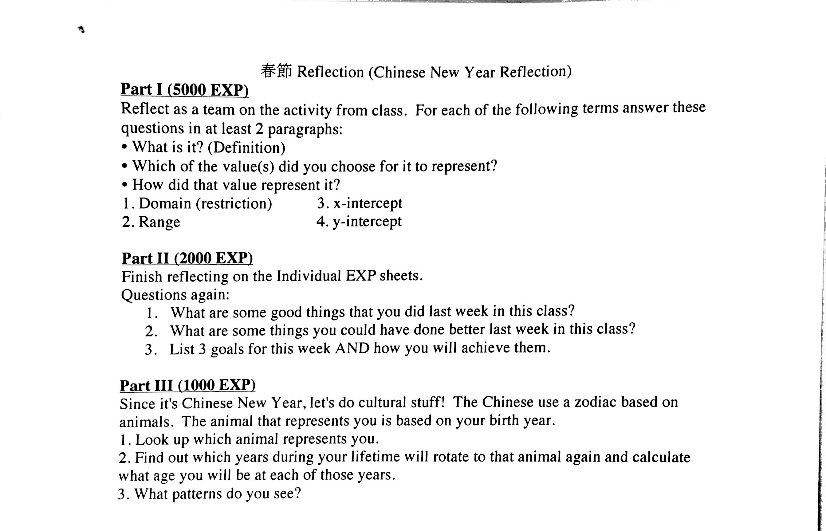 Chinese New Year Reflection Sheet2g The Domain And Range