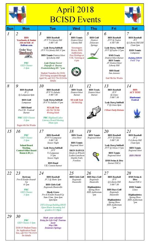 April School Events Calendar Thumbnail Image