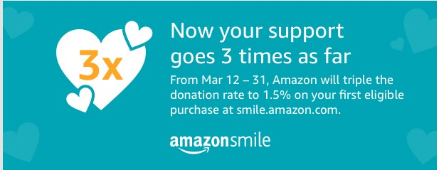 Image from Amazon Smile announcing a 3x  value promotion
