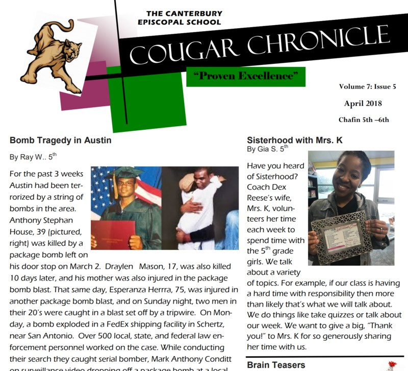 CES 5th and 6th Graders Release 5th Edition of Cougar Chronicle Thumbnail Image