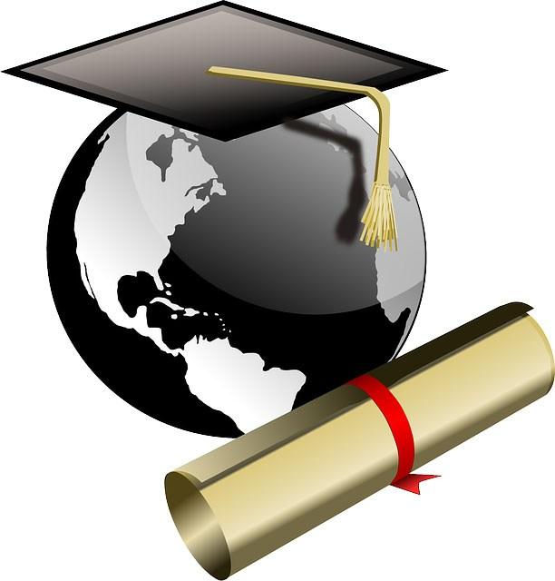 Globe and diploma