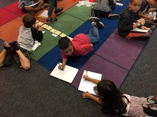 Math practice on the carpet