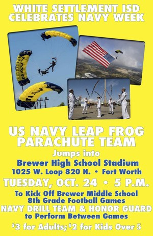 Navy Leap Frogs Parachute Team to Jump into Brewer High School Stadium Oct. 24