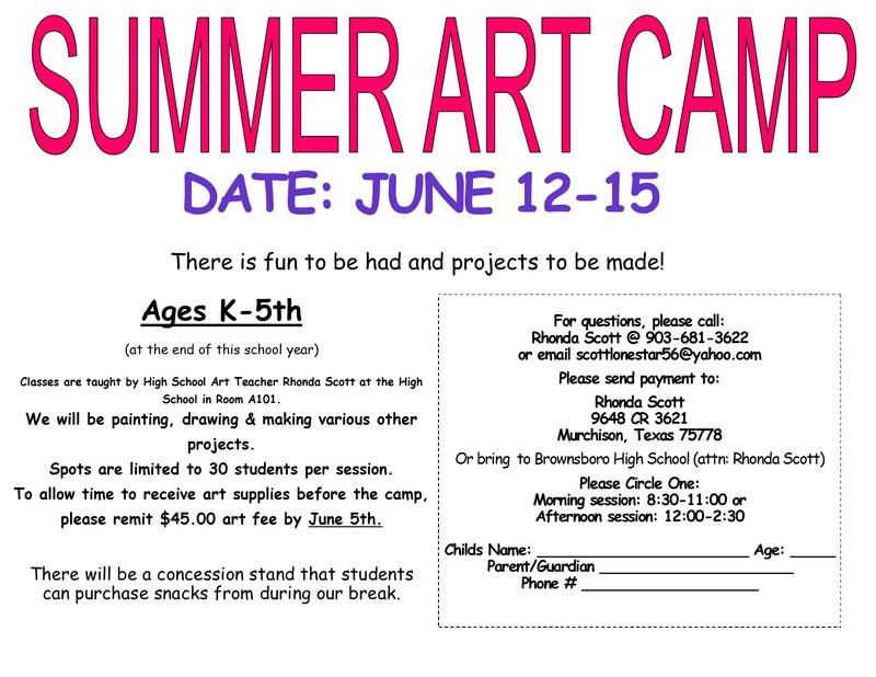 Art Camp dates set.