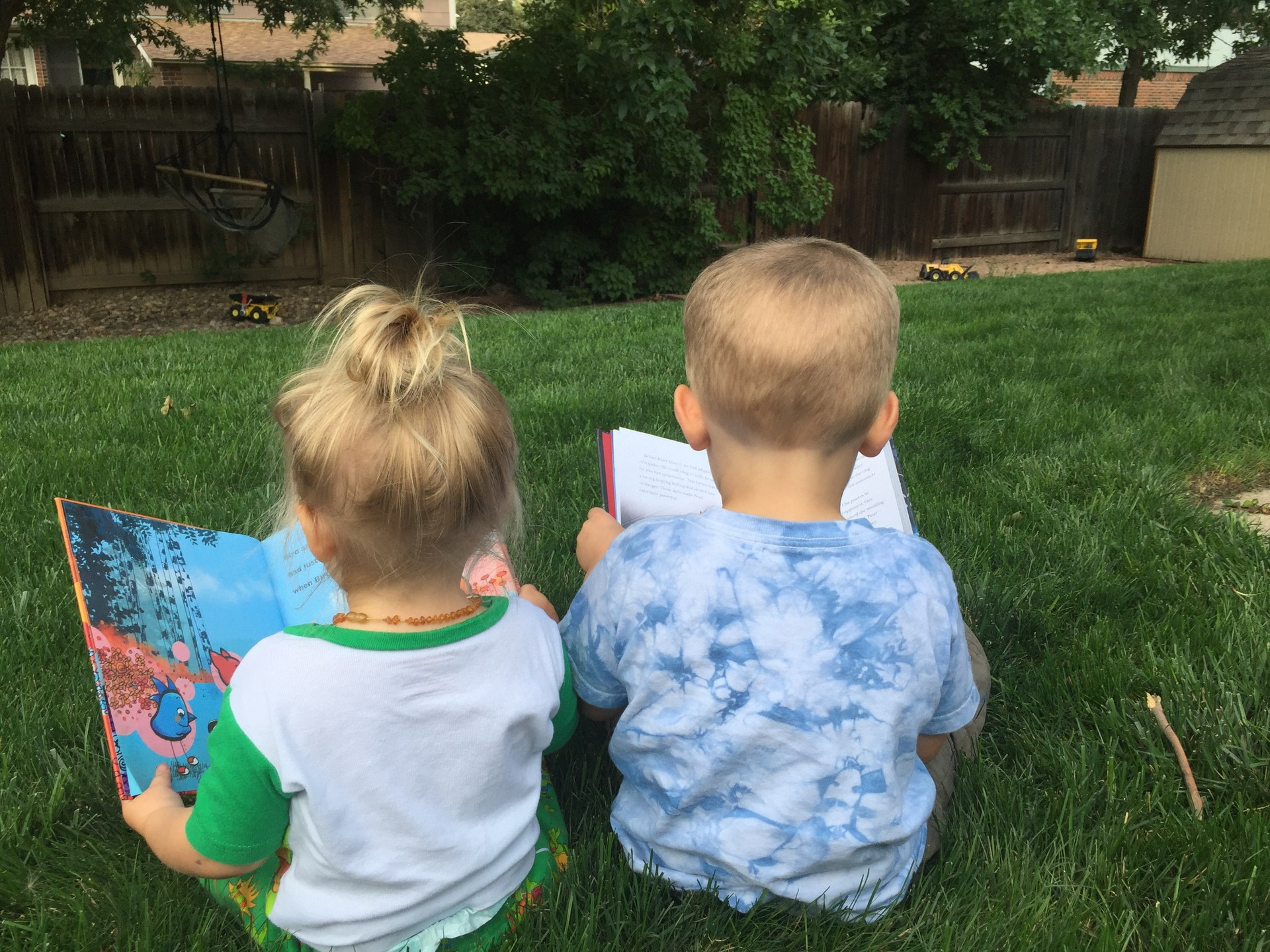 My kids enjoying books.