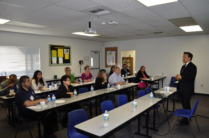 Baldwin Park Unified Superintendent Froilan N. Mendoza speaks to members of the Baldwin Park Business Association on Oct. 13 about the District's continuing efforts to strengthen student preparation for college and careers.