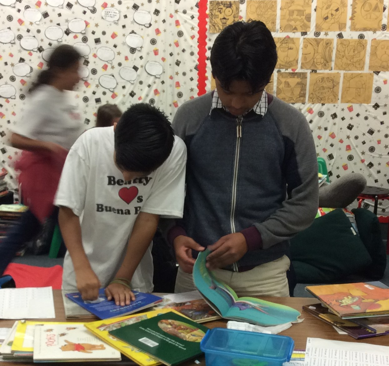 Beatty loves Buena Park student volunteers clean and fix books to donate to those in need.