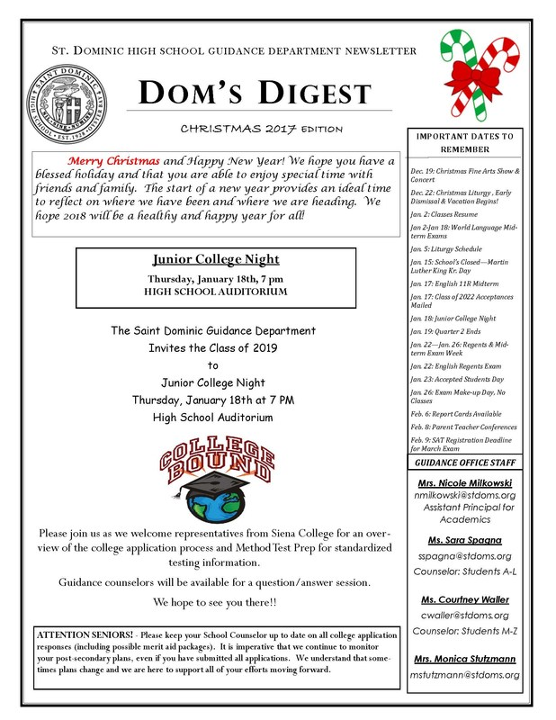 Dom's Digest Christmas 2017 Newsletter Featured Photo