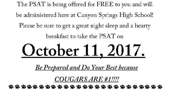 SAT/PSAT testing school wide Oct 11