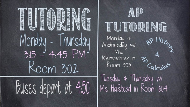 Tutoring Schedule on a chalkboard
