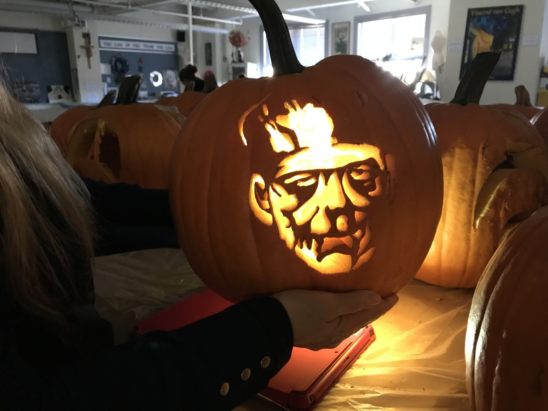 Art student makes Frankenstein pumpkin