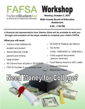 FAFSA meeting brochure, October 2, 2017, 6:30.