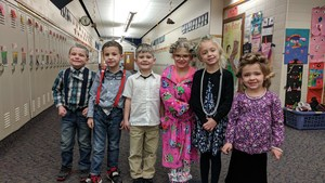 Students dressed up as if they were 100 years old.
