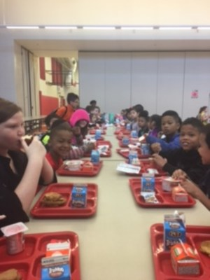 Students at South Newton Enjoying breakfast