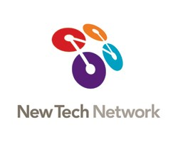 four circles of different colors attached by a line with new tec. network logo written