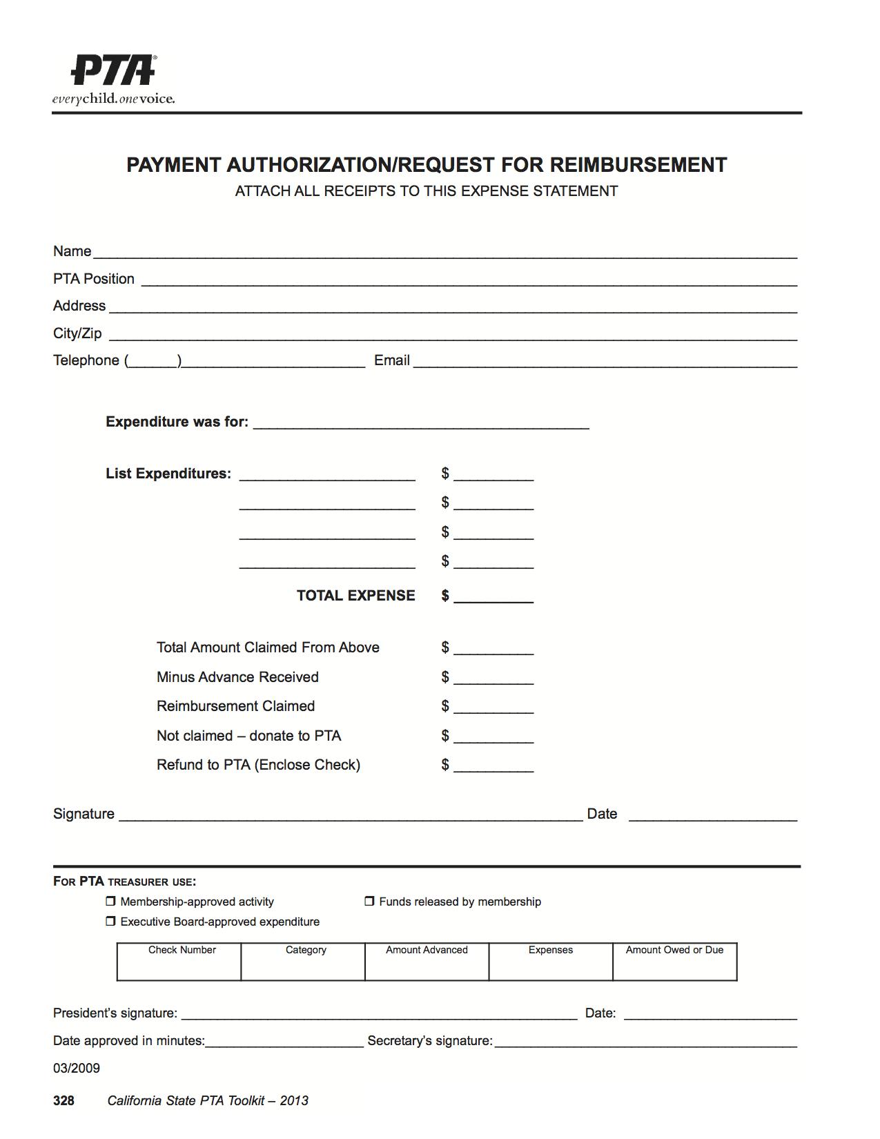 PTA Reimbursement Form Point Vicente PTA Point Vicente Elementary – Reimbursement Form