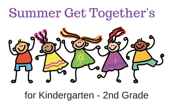 clip art of kids with the words, Summer Get Togethers for Kindergarten-2nd Grade