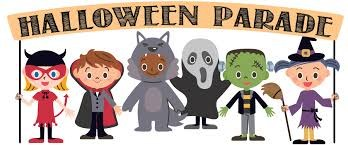 Halloween Parade Sign with kids in costumes