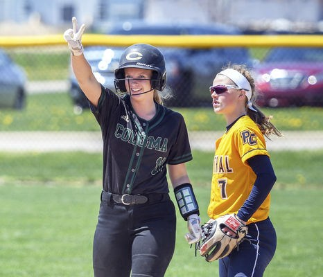 Coloma's Morgan Wagner announces she made it safely to second base against Portage Central on Saturday.