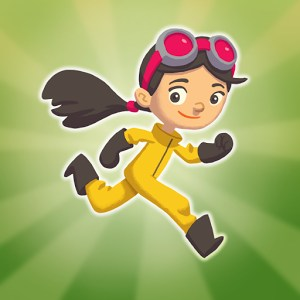 Character in yellow jumpsuit running