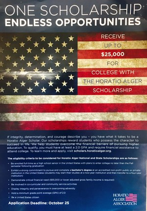 Horatio Alger scholarship information.