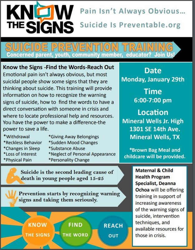 A flyer that contains time, place, and date of suicide prevention training. Contains information that will be covered that night.
