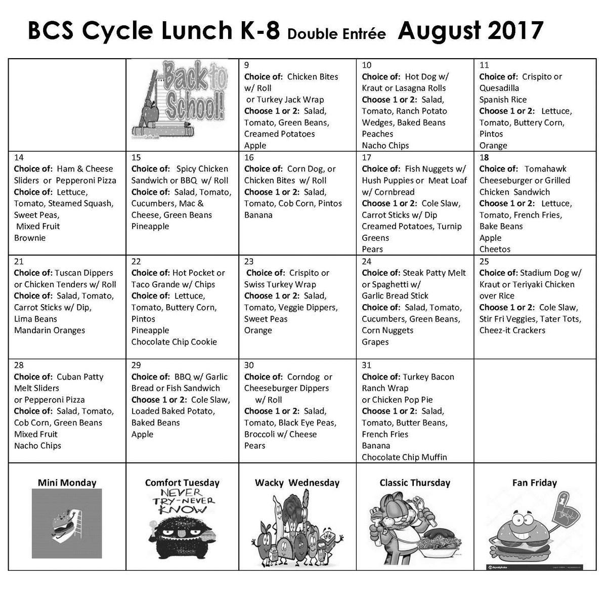August 2017 Lunch Menu