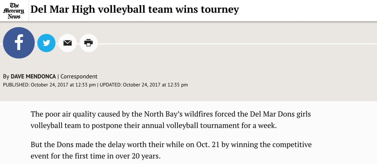 Image of article about Girls Volleyball Team winning tournament on October 21, 2017, as featured in the San Jose Mercury News