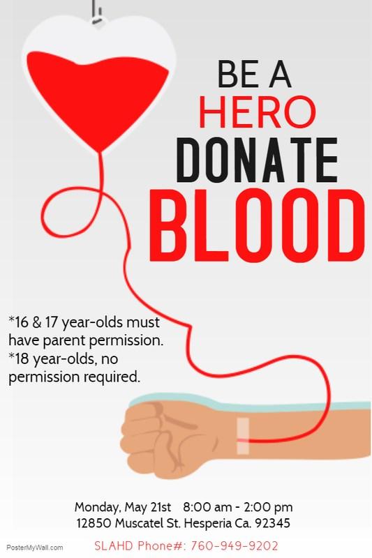 SLAHD Blood Drive, May 21 Thumbnail Image
