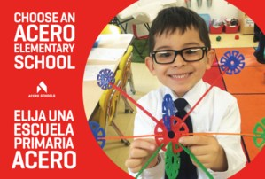 Image from postcard that says Choose an Acero School and has a photo of a young boy holding up a science project