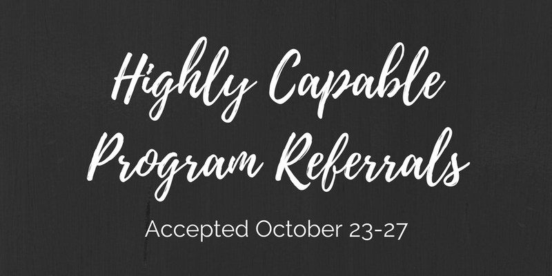 Highly Capable Program Referrals for Current Kindergartners and Some Transfer Students Will Be Accepted October 23-27 Thumbnail Image