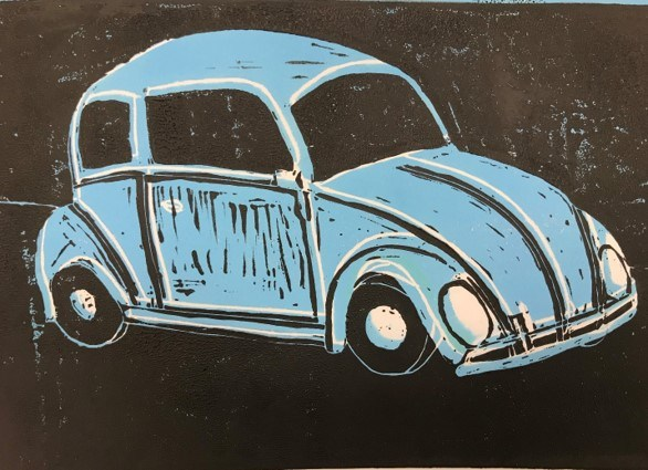 printmaking of a car