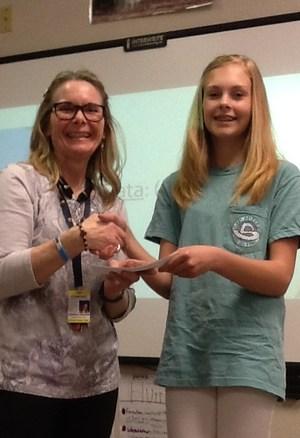 Essay winner and teacher