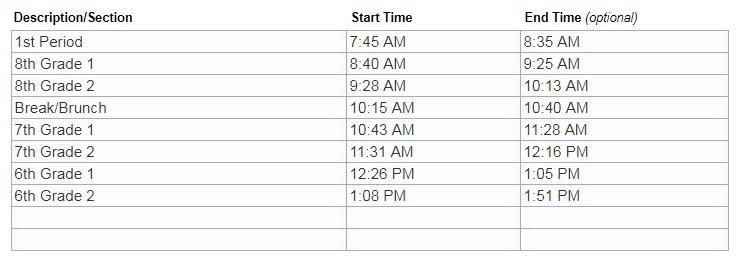 Connections schedule