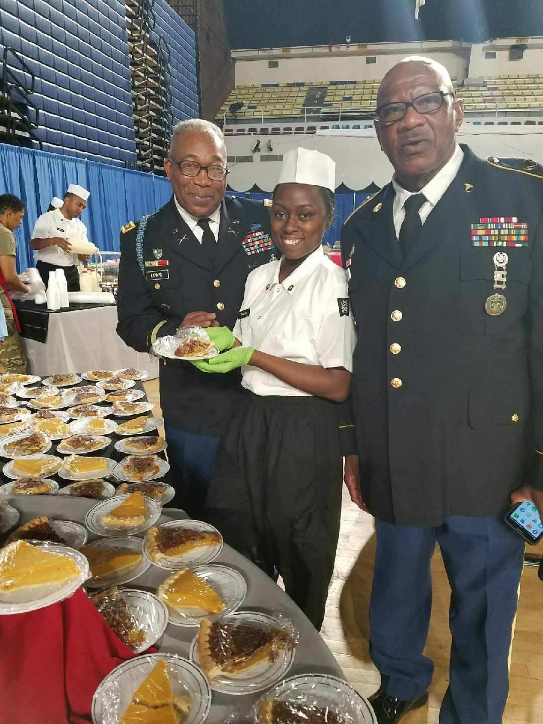 Gradella Brown with Maj. Lewis and Sgt. Bee