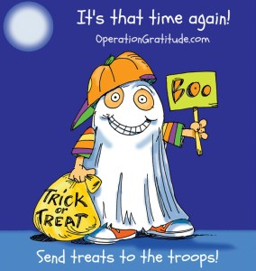 cartoon ghost asking for Halloween treats for the military troops