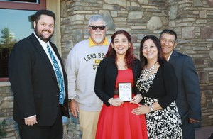 Jahaira Calvo, Tahquitz's Student of the Month, with Principal, Teacher, and family