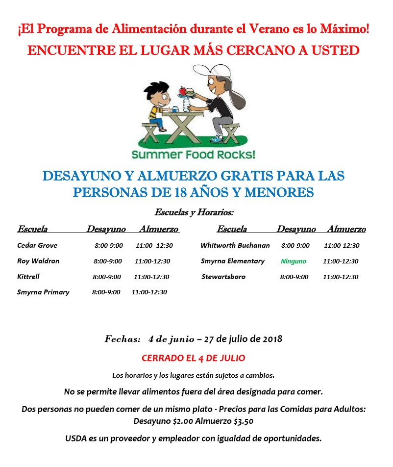 Summer Feeding Flyer Spanish