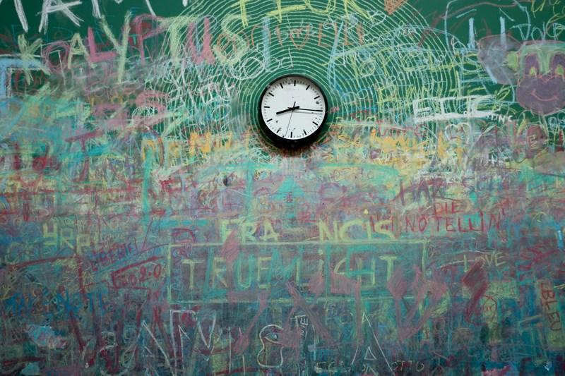 Writing on chalkboard.