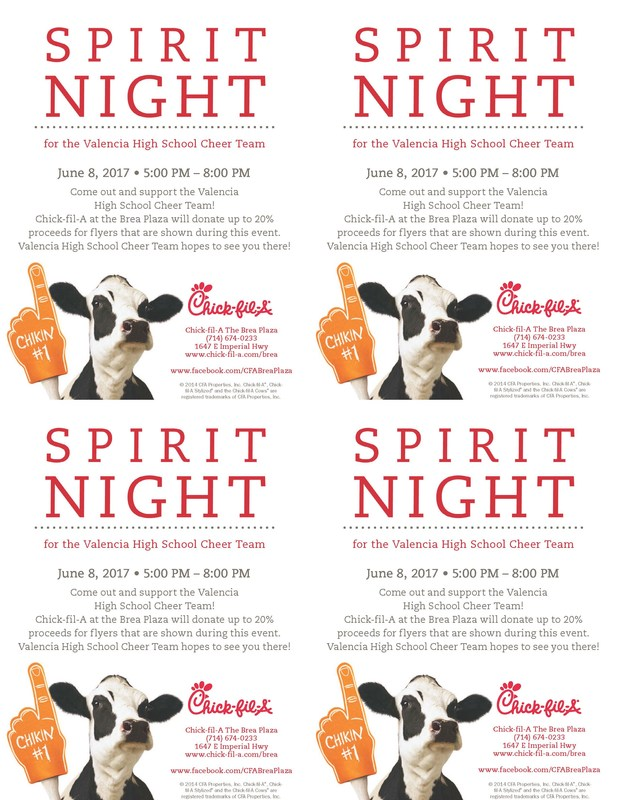 Valencia High School Cheer Team! June 8, 2017 • 5:00 PM – 8:00 PM - CLICK HERE FOR FLYER Thumbnail Image