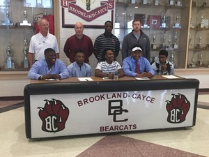 Shown at Brookland-Cayce High School are, from left, Devin Miller, IItasca Community College; Tykese Boages, Itasca Community College; Keylin Roach, Independence Community College; Jerrell Moore, S.C. State University; Dominque Perry, Hutchinson Community College.