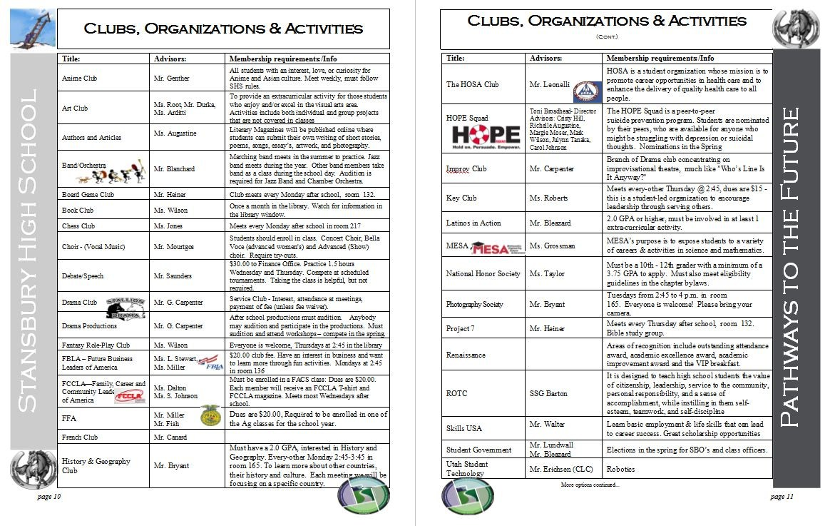 Clubs and organizations page 1