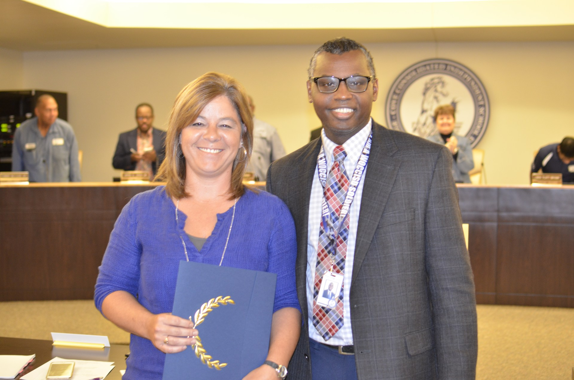 Tammy Brister is recognized as the Employee of the Month.