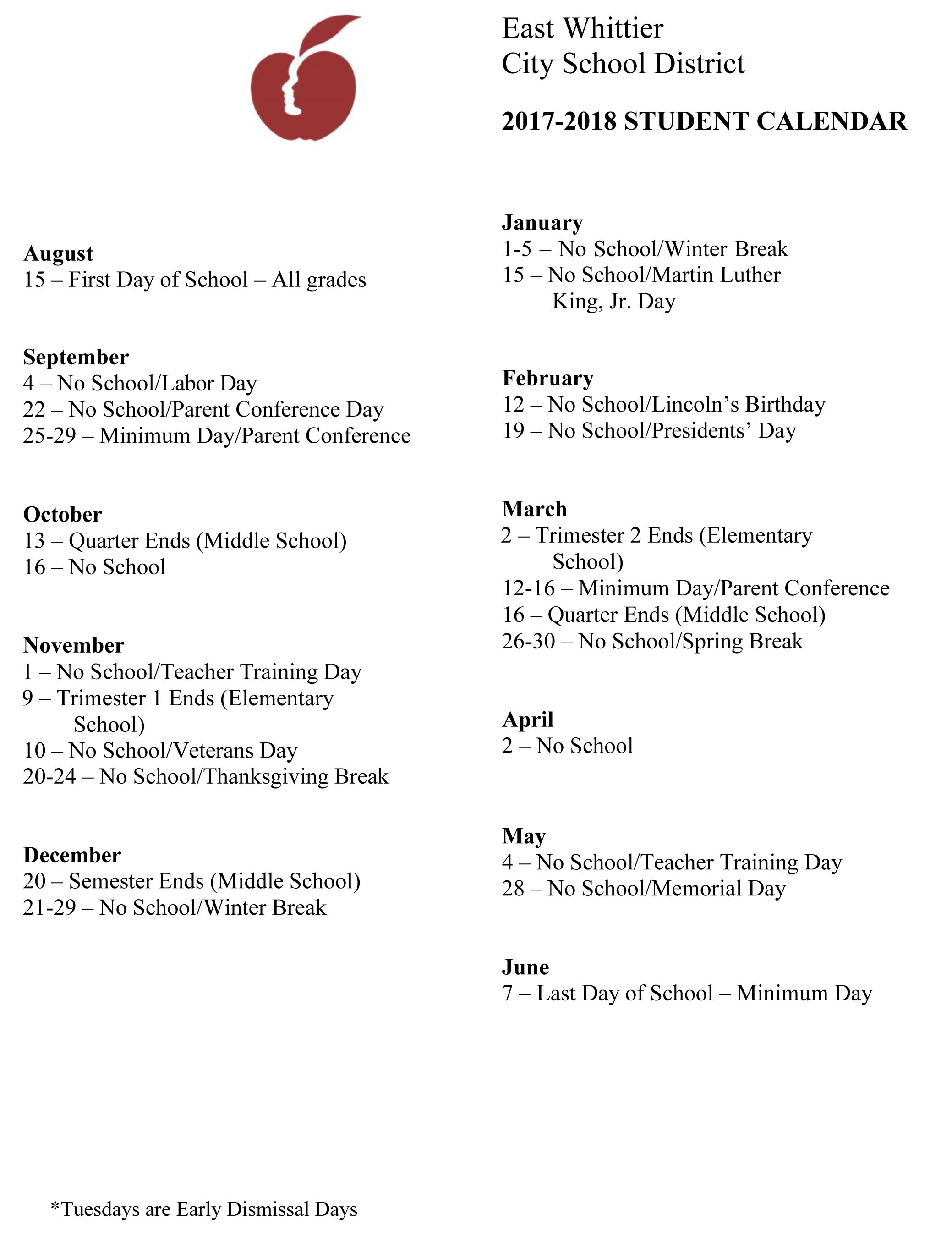 2017-18 Student Calendar