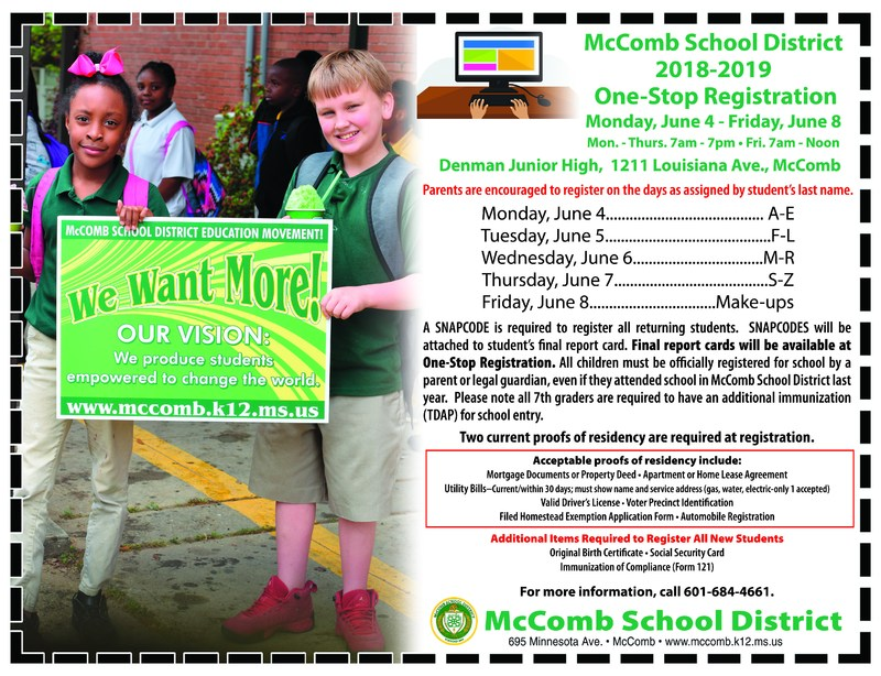 McComb School District 2018-2019 One-Stop Registration.
