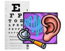 Eye chart and ear clipart for screenings.