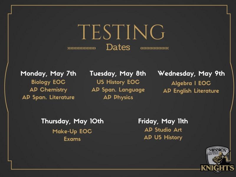 AP & EOC Testing Dates Featured Photo