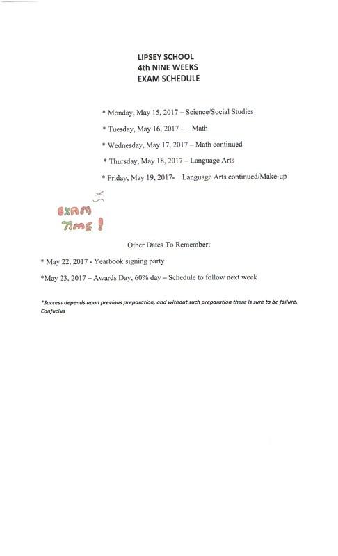 4th Nine Weeks Test Schedule Thumbnail Image