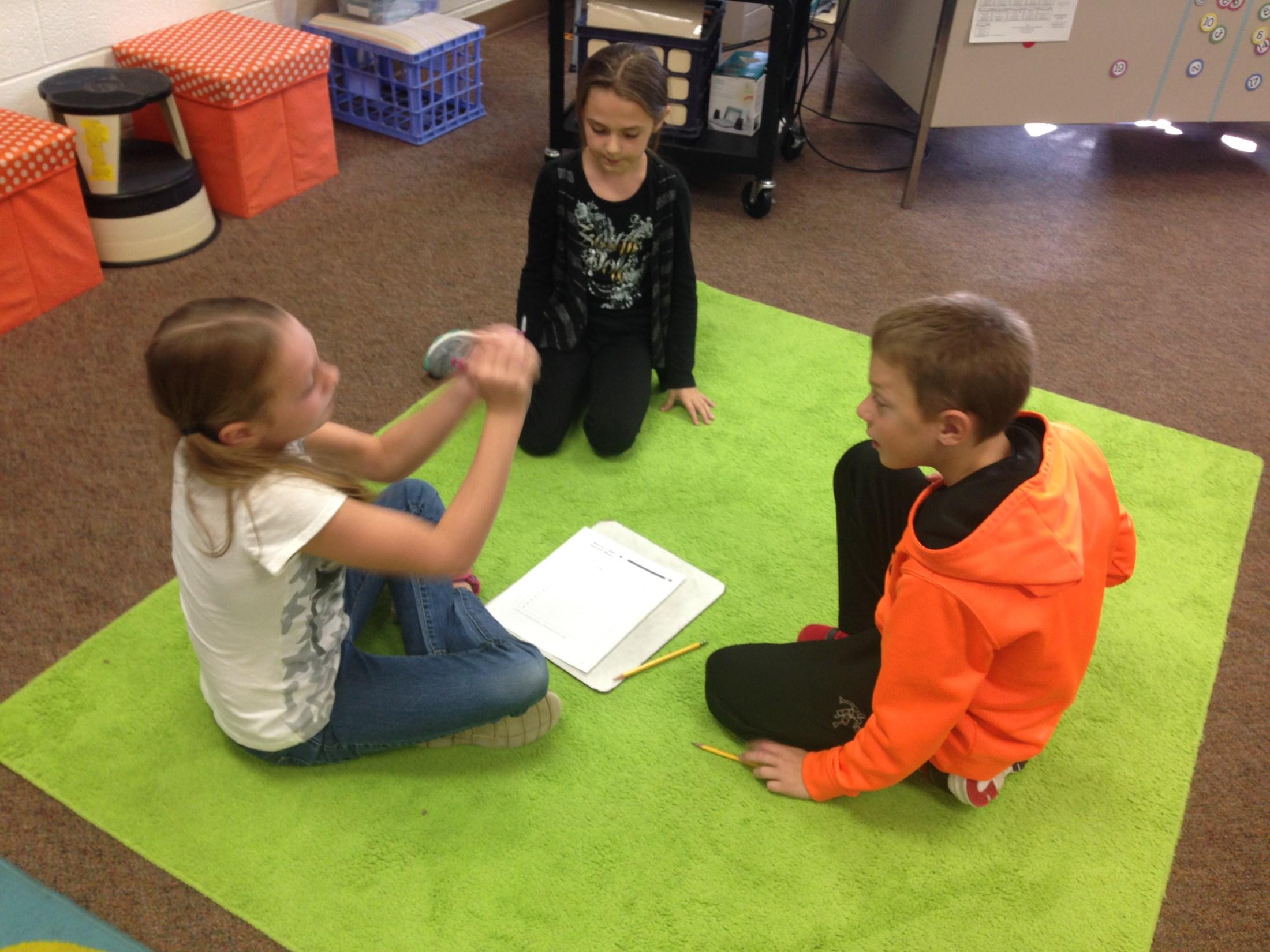 Kids playing math games.