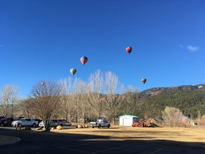 Hot air balloons in sky